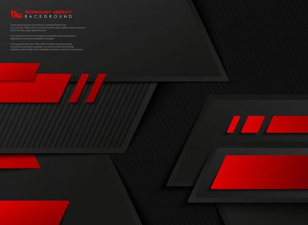 Modello geometrico nero rosso di pendenza astratta di tecnologia di vettore. Vettore Premium