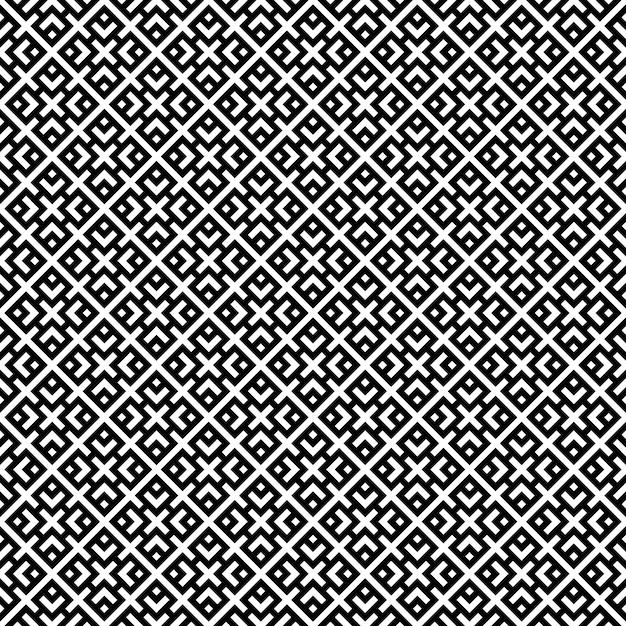 Modello geometrico senza cuciture di forme semplici in nero su bianco Vettore Premium