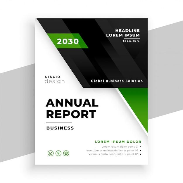 Modello geometrico verde del rapporto annuale di affari Vettore gratuito