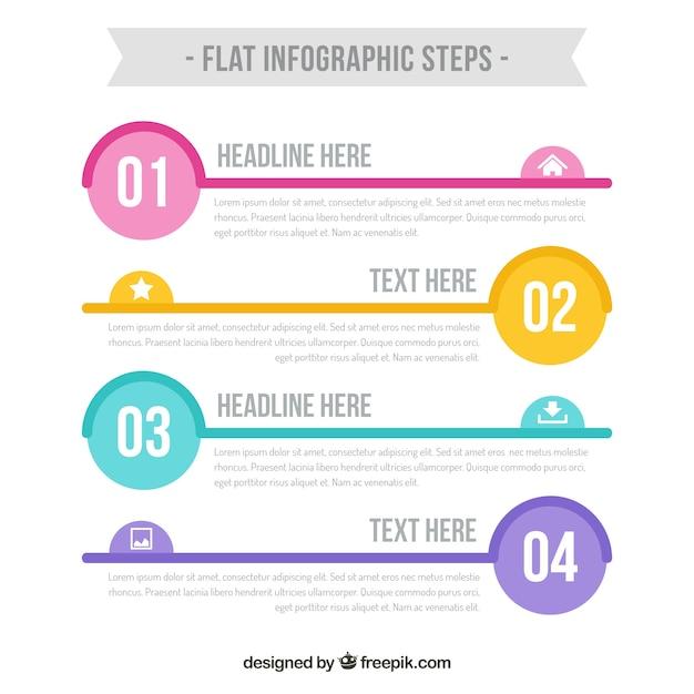 Modello grafico a passi infografici Vettore gratuito