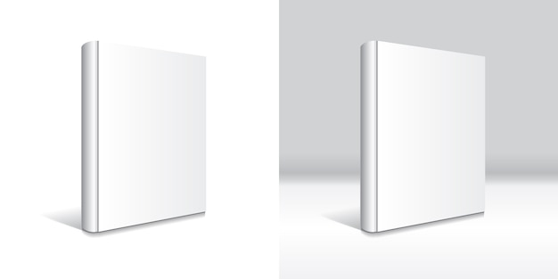 Modello in bianco bianco del libro dalla copertina rigida isolato. Vettore Premium