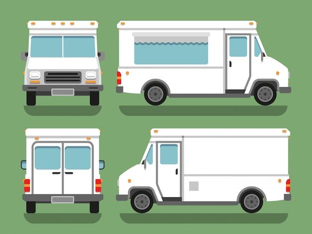 Modello in bianco bianco di vettore del camion del contenitore di alimento di consegna del fumetto Vettore Premium