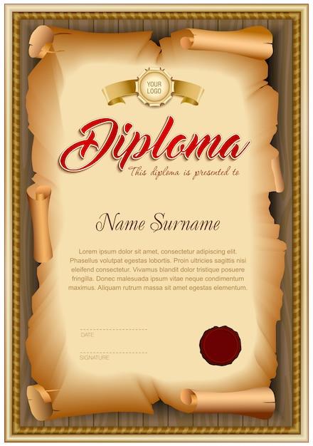 Modello in bianco del diploma di vecchia carta torta su fondo di legno. Vettore Premium