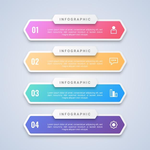 Modello infografica 4 punti colorato con 4 passaggi etichette per layout di flusso di lavoro, diagramma, web Vettore Premium