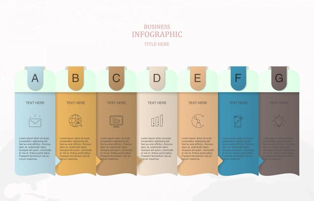Modello infographic di 7 elementi per il concetto di affari. Vettore Premium