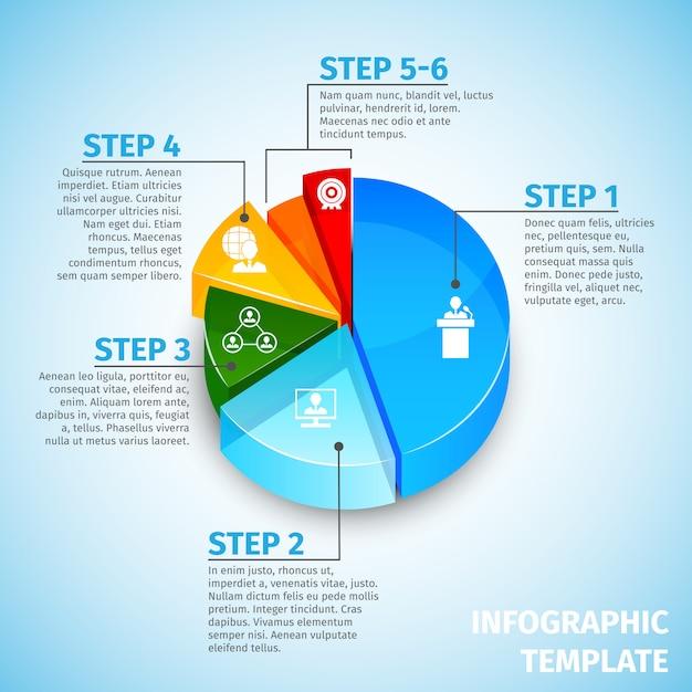 Modello infographic di riunione del grafico a torta Vettore Premium
