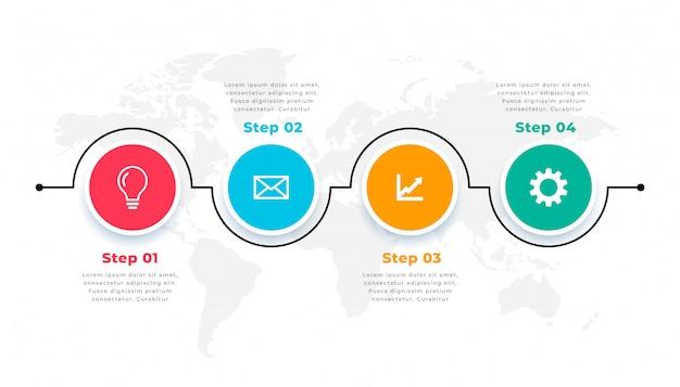 Modello infohraphic circolare della timeline di quattro passaggi Vettore gratuito