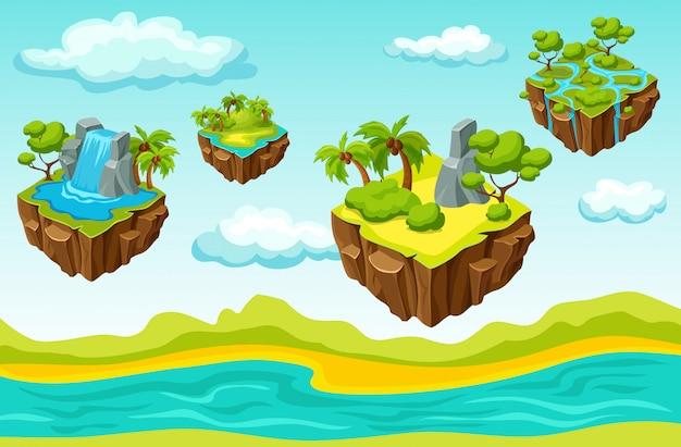 Modello isometrico a livello di gioco delle isole sospese Vettore gratuito