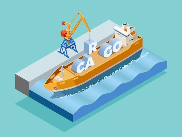 Modello isometrico del porto marittimo Vettore gratuito