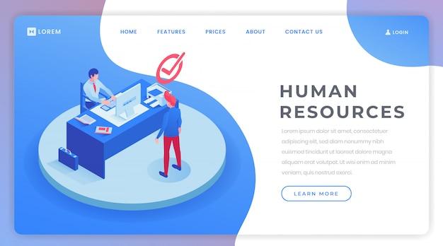 Modello isometrico della pagina di destinazione delle risorse umane Vettore Premium