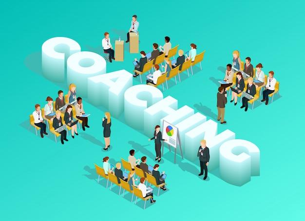 Modello isometrico di formazione aziendale Vettore gratuito