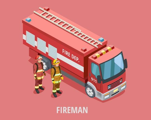 Modello isometrico pompiere di professione Vettore gratuito