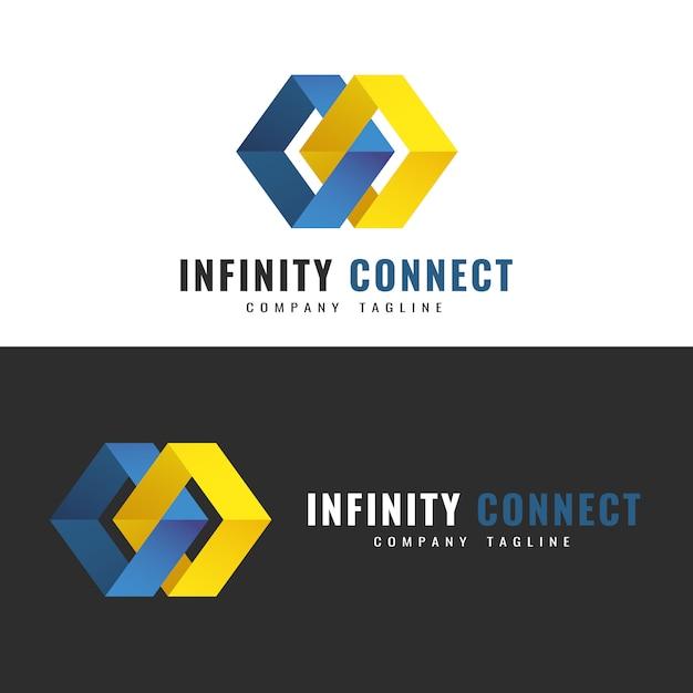 Modello logo astratto. design del logo infinity. due figure interconnesse che simboleggiano il contatto infinito Vettore Premium
