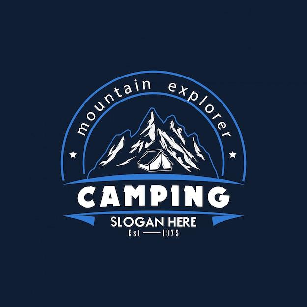 Modello logo campeggio illustrazione vettoriale Vettore Premium