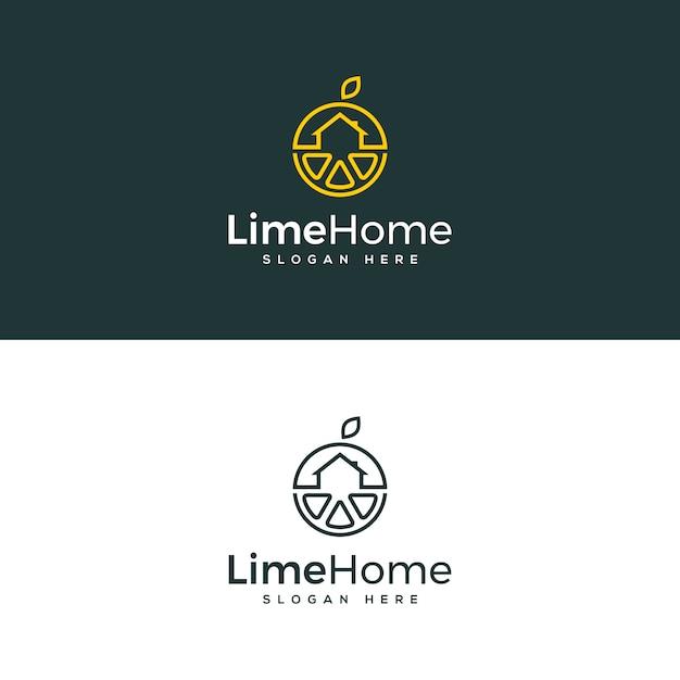 Modello logo casa calce Vettore Premium