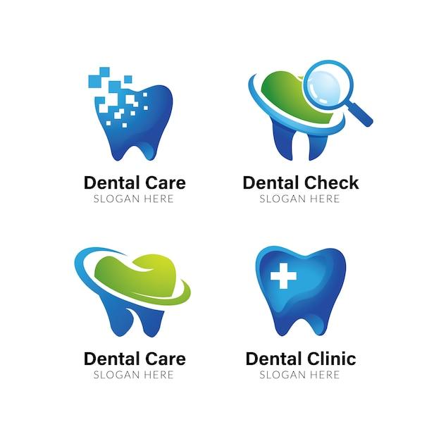 Modello logo dentale. disegno di simbolo di cura dentale Vettore Premium