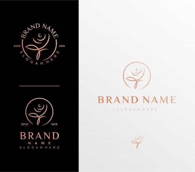 Modello logo fiore rosa Vettore Premium