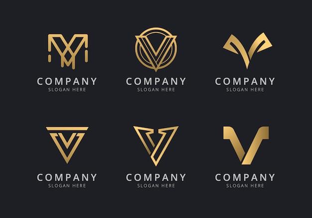 Modello logo iniziale v con un colore dorato per l'azienda Vettore Premium