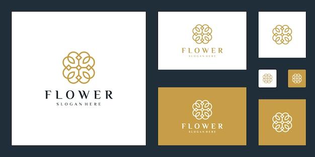 Modello logo minimalista elegante fiore Vettore Premium