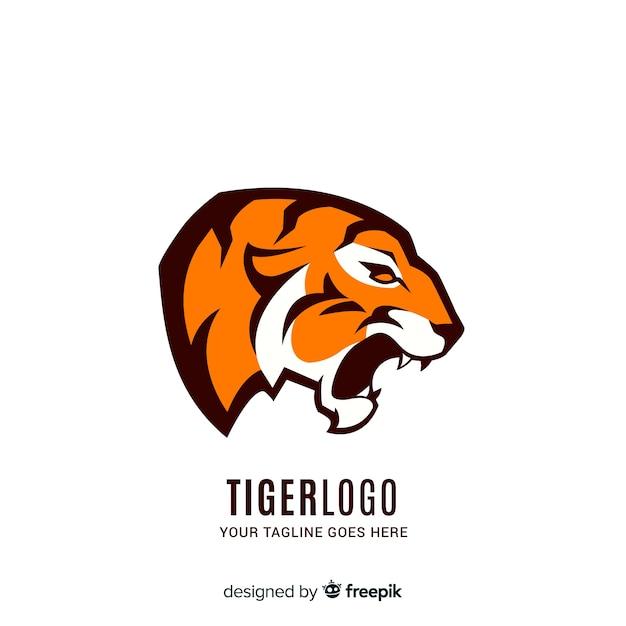 Modello logo ruggente della tigre Vettore gratuito