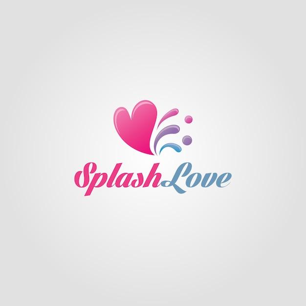 Modello logo splash love Vettore Premium