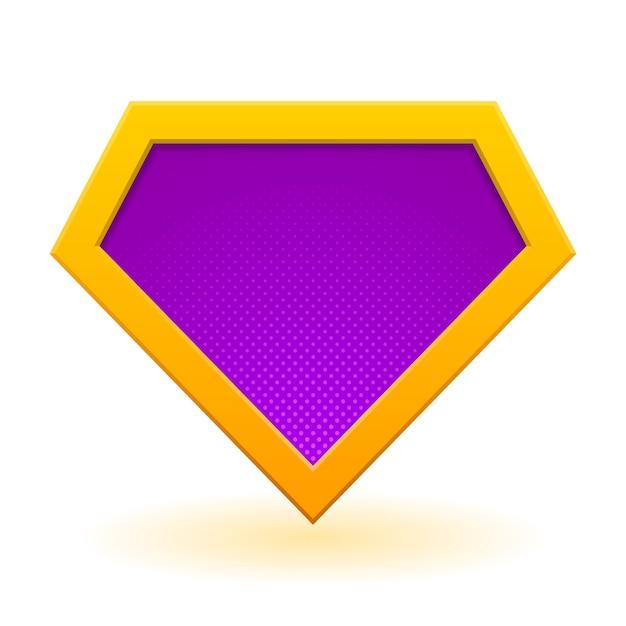 Modello logo supereroe dorato e viola. Vettore Premium