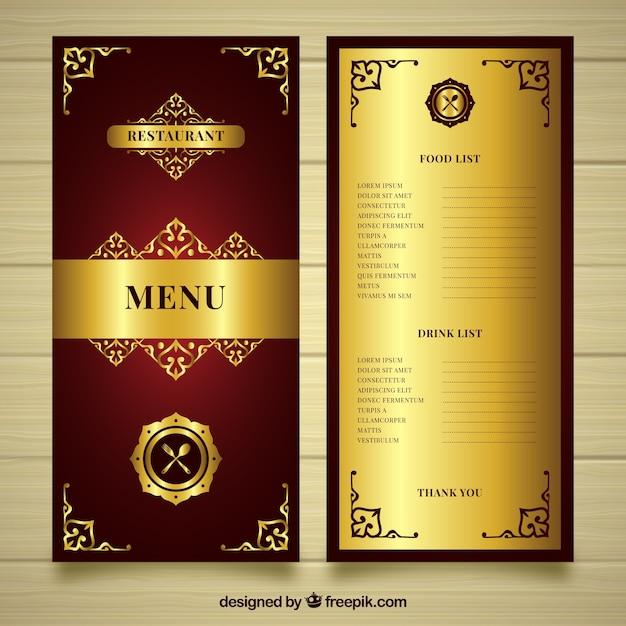 Modello menu dorato con stile gotico Vettore gratuito