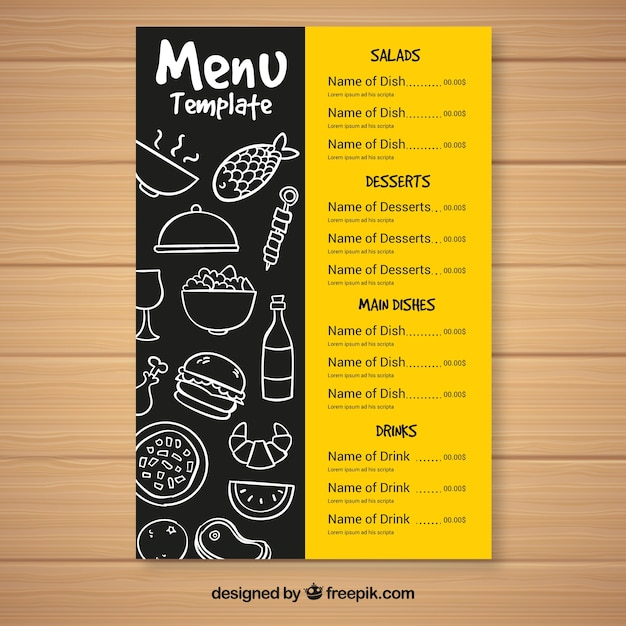 Modello menu menu fast food Vettore gratuito