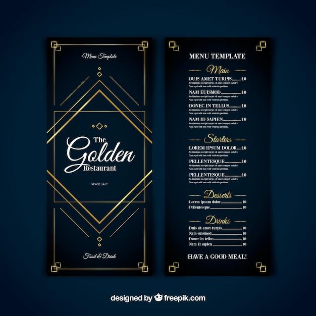 Modello menu moderno con ornamenti dorati Vettore gratuito