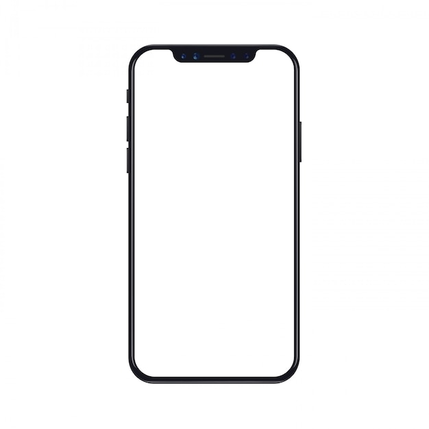 Modello mobile del telefono dello smartphone isolato su fondo bianco con lo schermo in bianco Vettore Premium