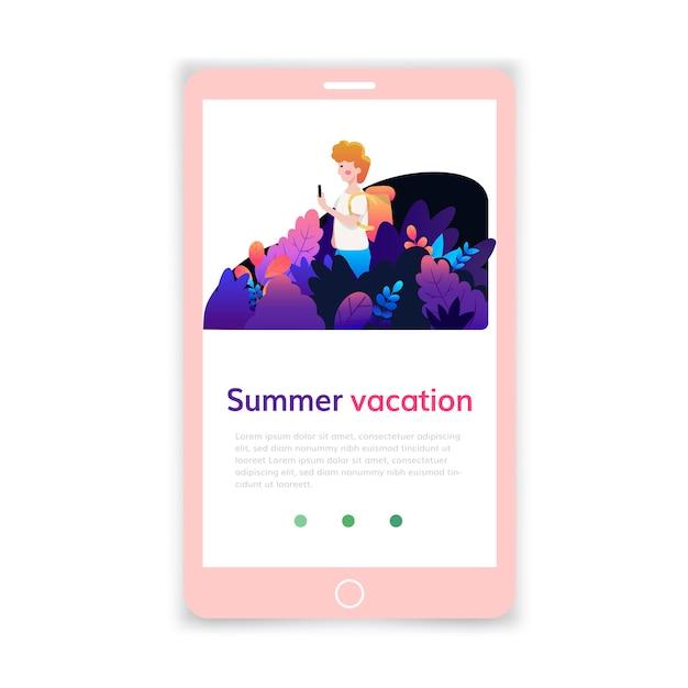 Modello mobile per vacanze estive, progettazione di pagine web e pagine di destinazione per lo sviluppo di siti web. Vettore Premium