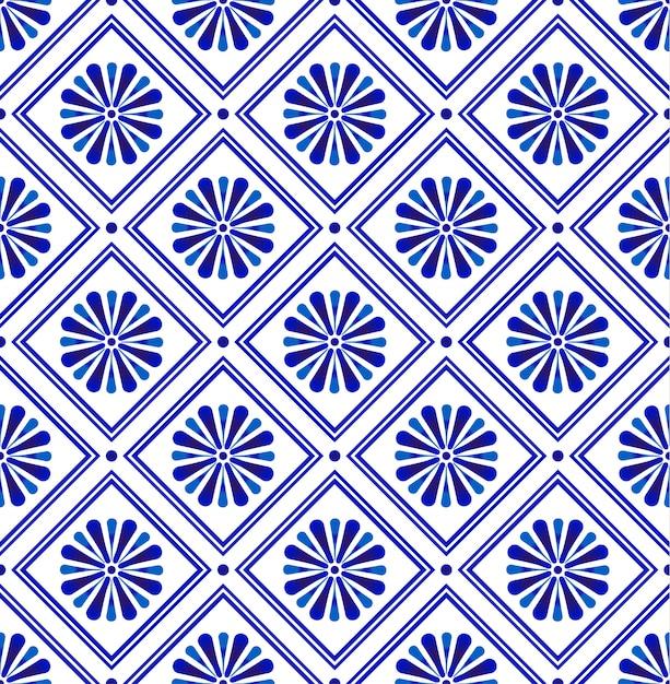 Modello moderno astratto delle mattonelle blu e bianco, carta da parati ceramica floreale senza cuciture della porcellana, progettazione indaco per la struttura della stampa e seta, arredamento d'annata della terraglia Vettore Premium