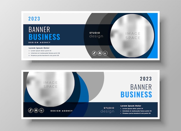 Modello moderno di banner astratto business cerchio Vettore gratuito