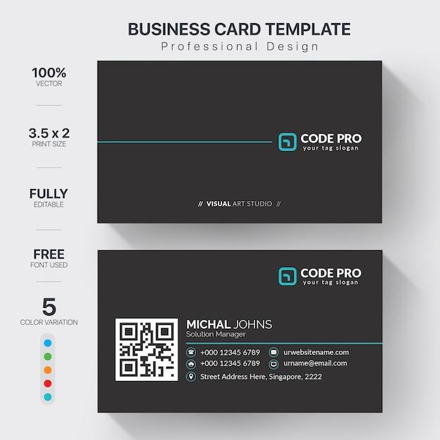Modello moderno di biglietti da visita con variazione di colore Vettore Premium
