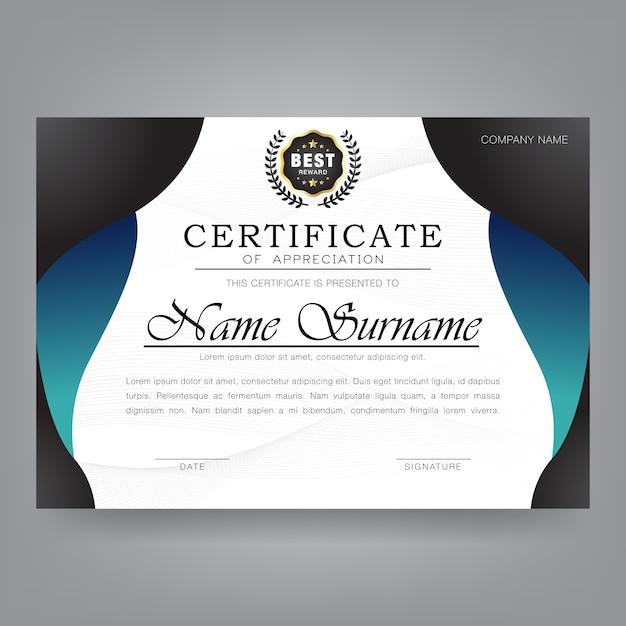 Modello moderno di certificato di apprezzamento Vettore Premium