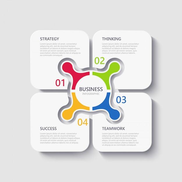 Modello moderno di infografica 3d con 4 passaggi per il successo Vettore Premium