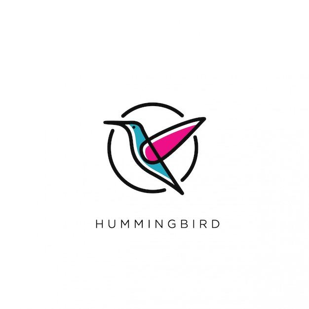 Modello moderno di logo dell'uccello di ronzio Vettore Premium