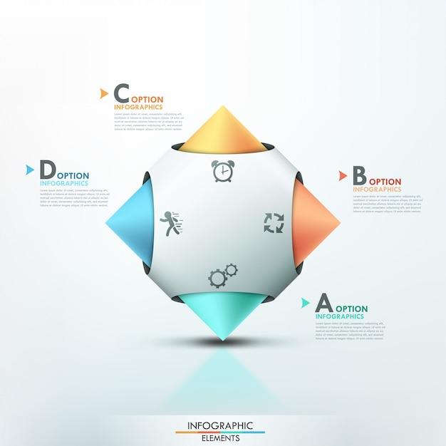 Modello moderno di opzioni di infographics 3d Vettore Premium
