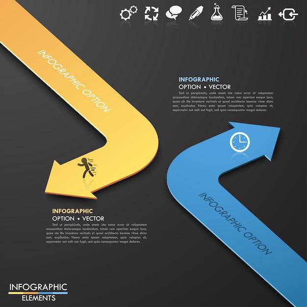 Modello moderno di opzioni di stile della freccia della carta di affari 3d. illustrazione vettoriale può essere utilizzato per il layout del flusso di lavoro, diagramma, opzioni di numero, intensificare le opzioni, web design, infografica. Vettore Premium