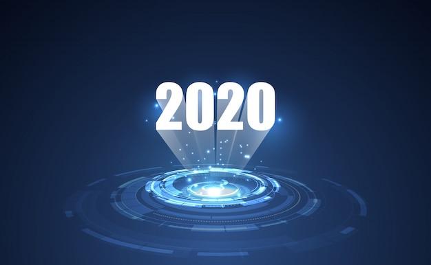 Modello moderno di tecnologia futuristica per il 2020. Vettore Premium
