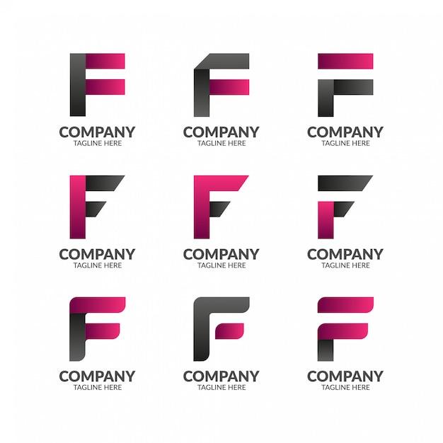 Modello moderno elegante lettera f logo Vettore Premium