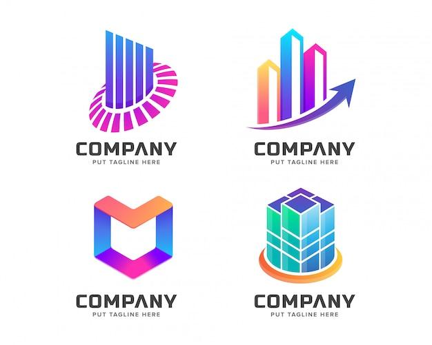 Modello moderno logo colorato Vettore Premium