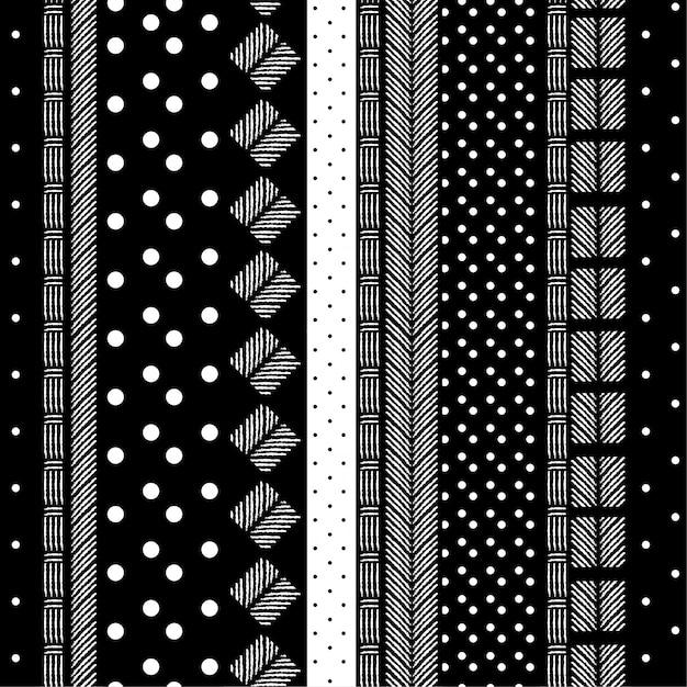 Modello monotono moderno bianco e nero Vettore Premium