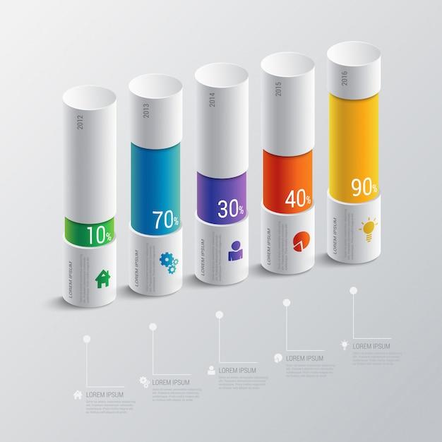 Modello multicolore di vettore di infographics dell'istogramma dell'indicatore di cronologia di 5 punti. concetto di relazione finanziaria. Vettore gratuito