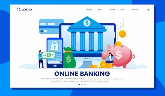 Modello online dell'illustrazione del sito web della pagina di destinazione di attività bancarie Vettore Premium