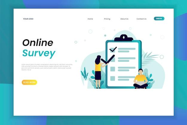 Modello online della pagina web di concetto dell'illustrazione di vettore di indagine e di polling con il carattere Vettore Premium