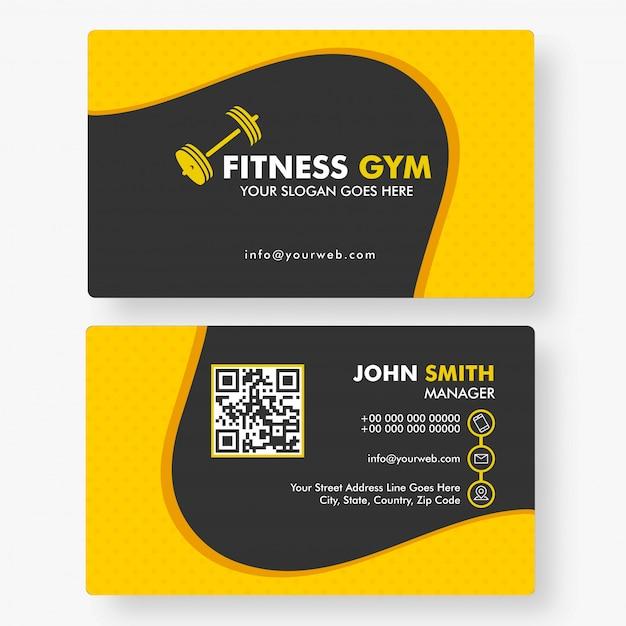 Modello orizzontale di palestra fitness o biglietto da visita Vettore Premium