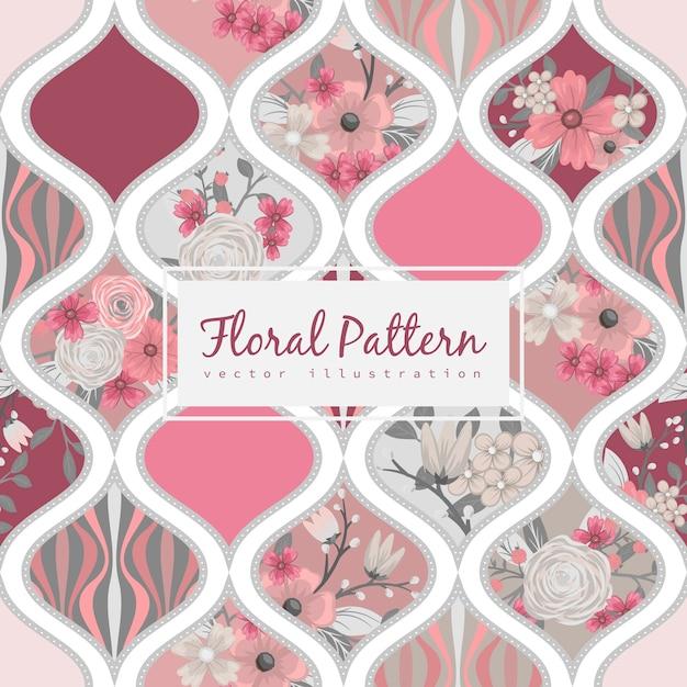 Modello patchwork floreale senza soluzione di continuità con elementi geometrici Vettore Premium