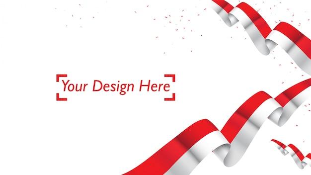 Modello patriottico indonesiano del fondo con spazio vuoto per testo, progettazione, feste, festa dell'indipendenza. benvenuti nel concetto di indonesia Vettore Premium