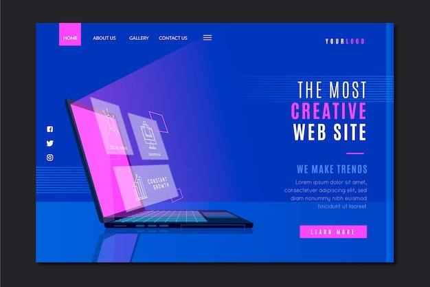 Modello per landing page aziendale con laptop Vettore gratuito